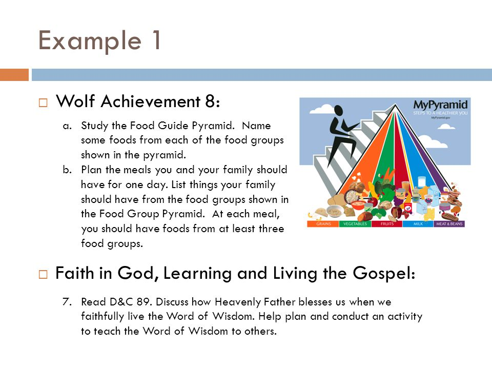 Example 1  Wolf Achievement 8:  Faith in God, Learning and Living the Gospel: a.Study the Food Guide Pyramid.