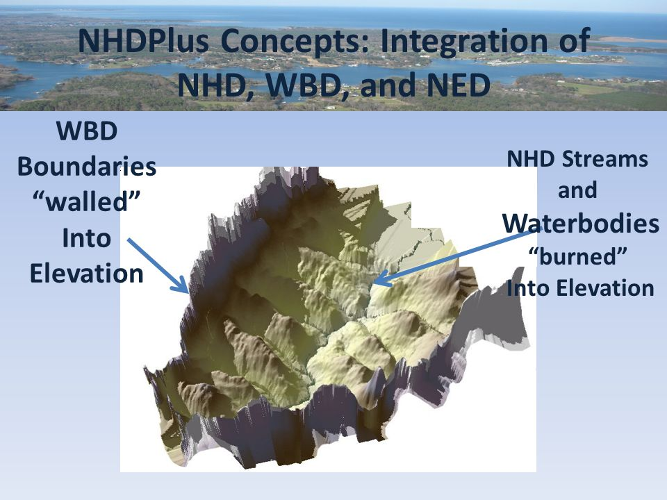 NHDPlus Concepts: Integration of NHD, WBD, and NED NHD Streams and Waterbodies burned Into Elevation WBD Boundaries walled Into Elevation
