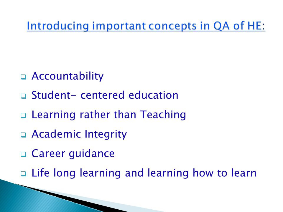  Feed back – based improvement  Outcome- based assessment  Continues reviewing of programs and courses  Innovation in teaching and learning strategies  Imbedding Entrepreneurship and commercia- lization of knowledge in programs and courses  Alignment of: graduate attributes - academic standards- learning objectives and outcomes - teaching and learning - student assessment
