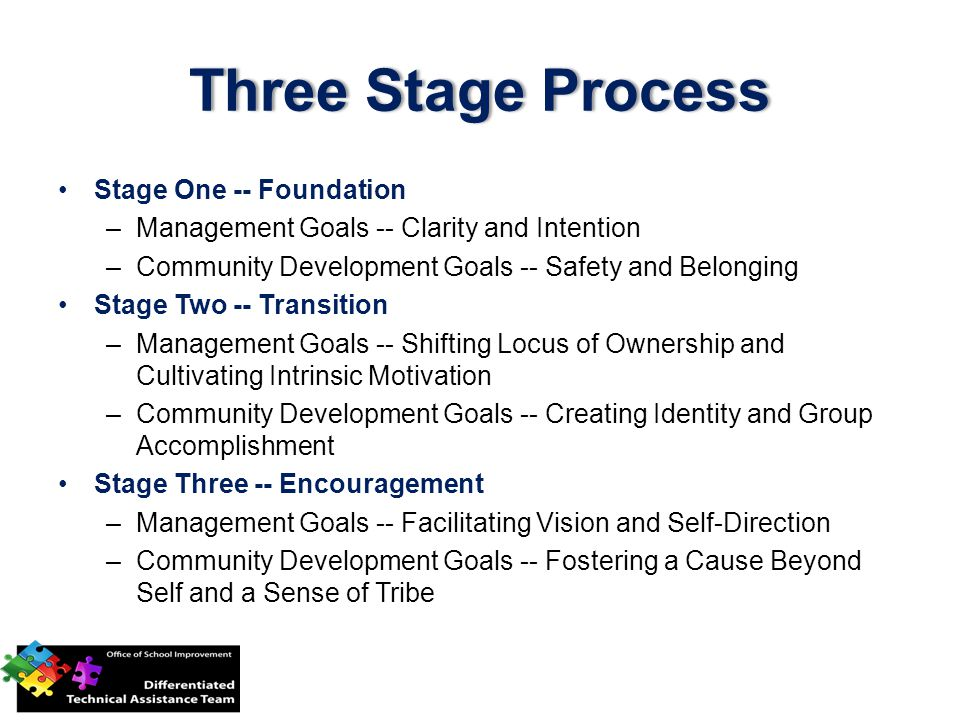 Three Stage ProcessThree Stage Process Stage One -- Foundation –Management Goals -- Clarity and Intention –Community Development Goals -- Safety and Belonging Stage Two -- Transition –Management Goals -- Shifting Locus of Ownership and Cultivating Intrinsic Motivation –Community Development Goals -- Creating Identity and Group Accomplishment Stage Three -- Encouragement –Management Goals -- Facilitating Vision and Self-Direction –Community Development Goals -- Fostering a Cause Beyond Self and a Sense of Tribe