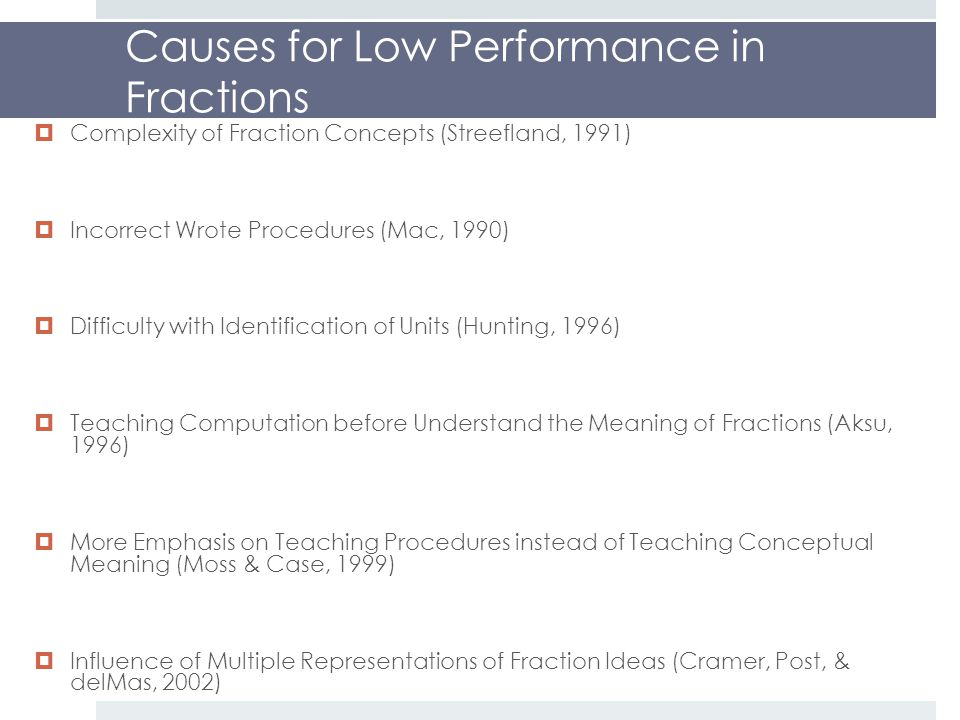 Causes for Low Performance in Fractions  Complexity of Fraction Concepts (Streefland, 1991)  Incorrect Wrote Procedures (Mac, 1990)  Difficulty with Identification of Units (Hunting, 1996)  Teaching Computation before Understand the Meaning of Fractions (Aksu, 1996)  More Emphasis on Teaching Procedures instead of Teaching Conceptual Meaning (Moss & Case, 1999)  Influence of Multiple Representations of Fraction Ideas (Cramer, Post, & delMas, 2002)