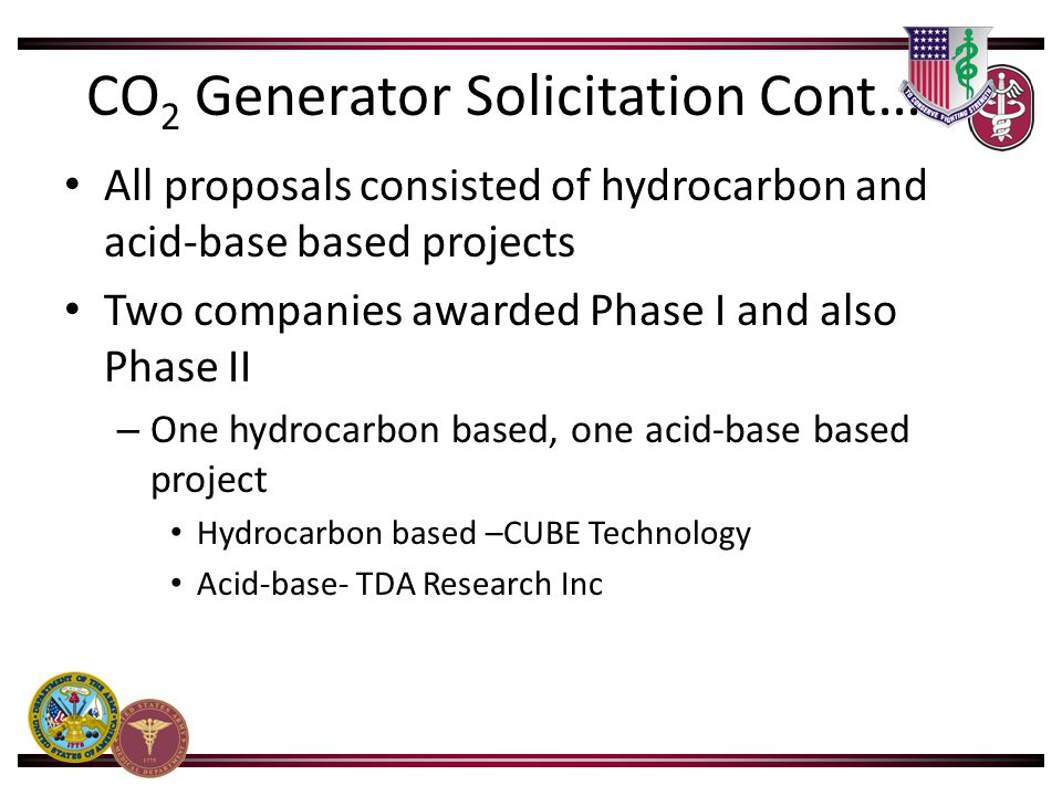 CO 2 Generator Solicitation Cont … All proposals consisted of hydrocarbon and acid-base based projects Two companies awarded Phase I and also Phase II