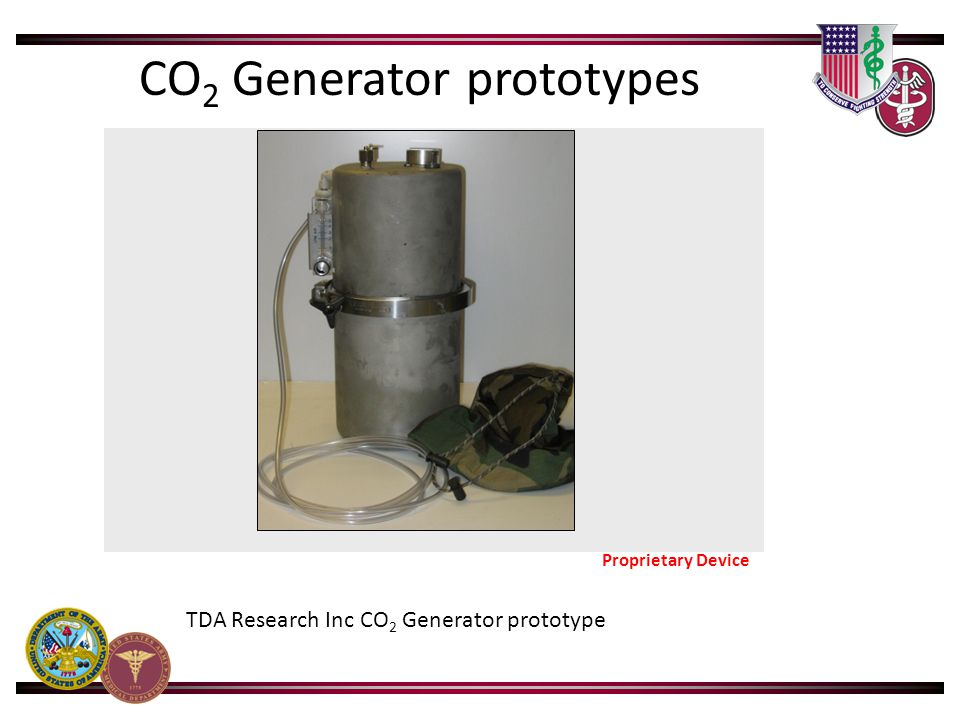 TDA Research Inc CO 2 Generator prototype Proprietary Device CO 2 Generator prototypes