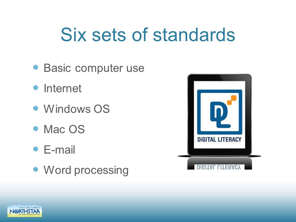 Six sets of standards Basic computer use Internet Windows OS Mac OS E-mail Word processing