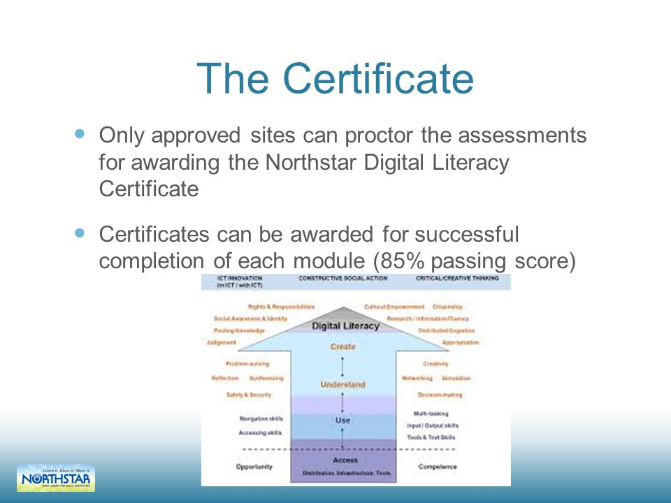 The Certificate Only approved sites can proctor the assessments for awarding the Northstar Digital Literacy Certificate Certificates can be awarded for successful completion of each module (85% passing score)