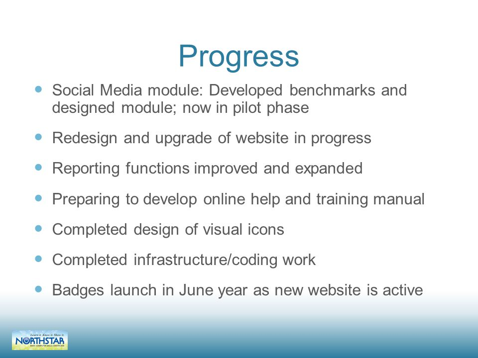 Progress Social Media module: Developed benchmarks and designed module; now in pilot phase Redesign and upgrade of website in progress Reporting functions improved and expanded Preparing to develop online help and training manual Completed design of visual icons Completed infrastructure/coding work Badges launch in June year as new website is active
