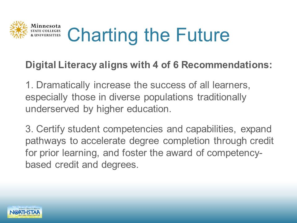 Charting the Future Digital Literacy aligns with 4 of 6 Recommendations: 1.