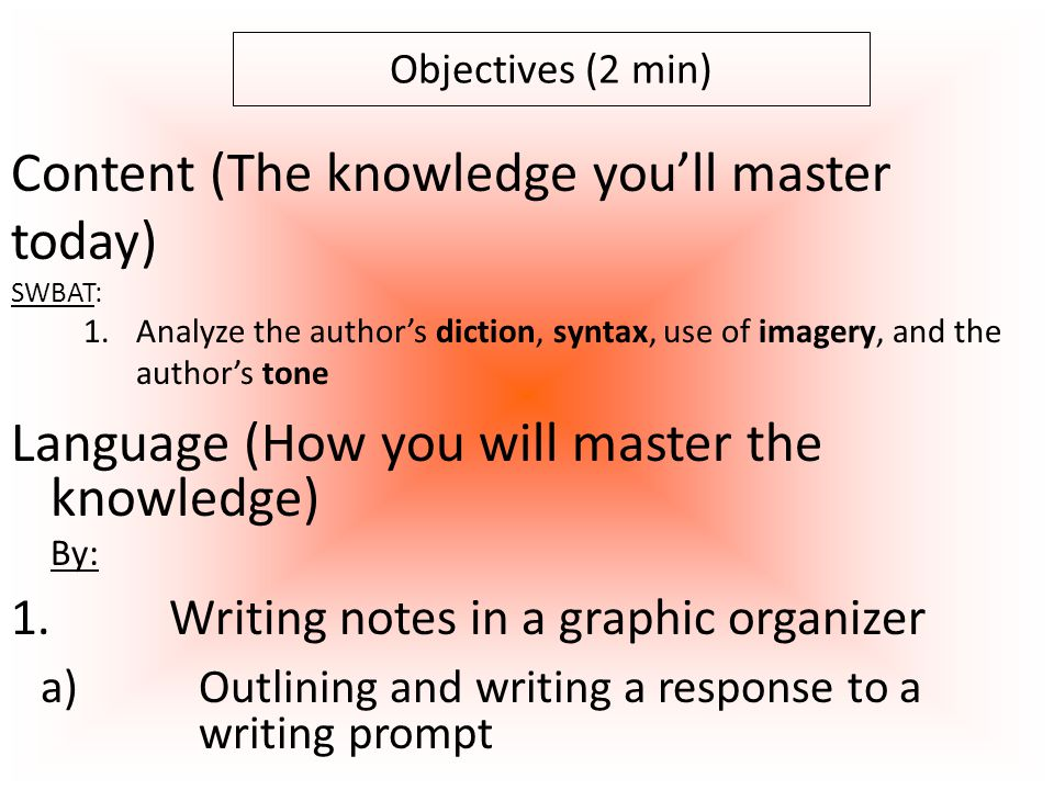 O O Outline Response to p.18 prompt (15 min) Objective: SWBAT: Objective: SWBAT: analyze the author's diction, syntax, use of imagery, and the author's tone by discussing the text and writing notes in a graphic organizer Now, write.