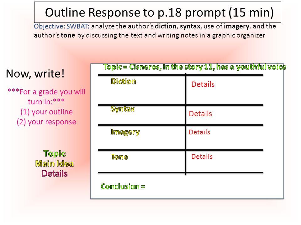 O O Write Response to p.18 prompt (25 min) Now, write.