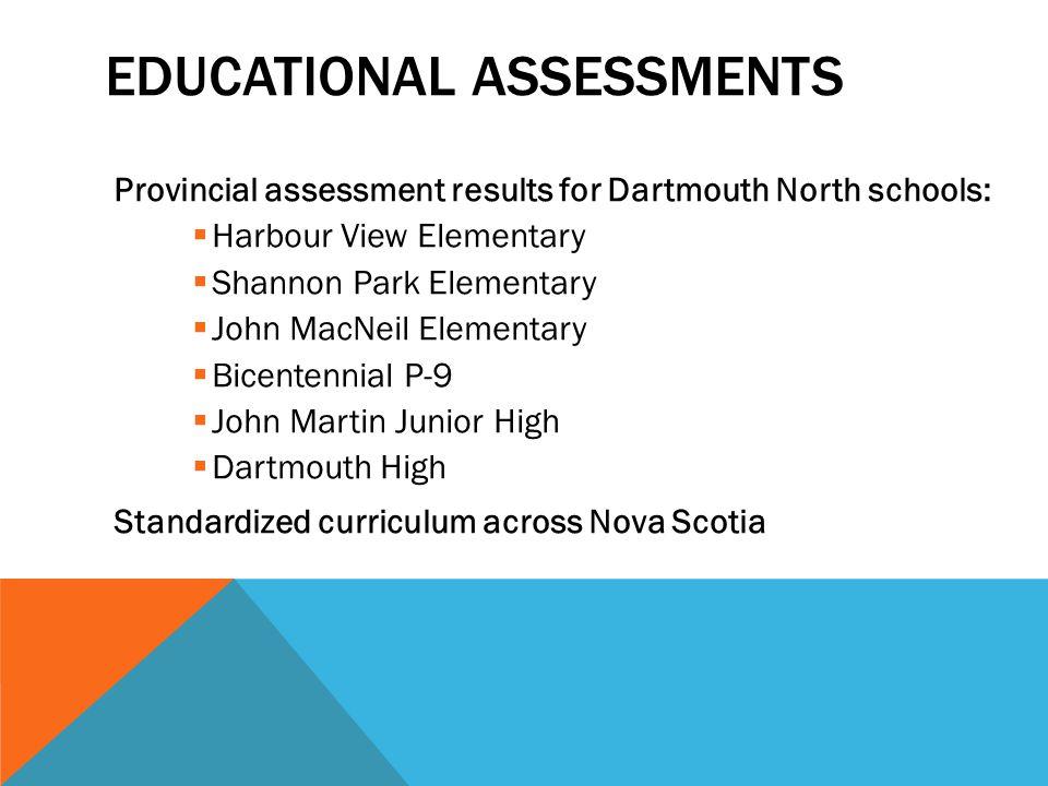 EDUCATIONAL ASSESSMENTS Provincial assessment results for Dartmouth North schools:  Harbour View Elementary  Shannon Park Elementary  John MacNeil Elementary  Bicentennial P-9  John Martin Junior High  Dartmouth High Standardized curriculum across Nova Scotia