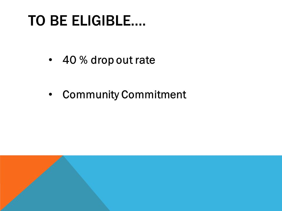 TO BE ELIGIBLE…. 40 % drop out rate Community Commitment