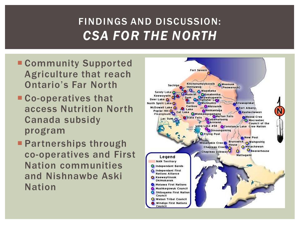  Community Supported Agriculture that reach Ontario's Far North  Co-operatives that access Nutrition North Canada subsidy program  Partnerships thr