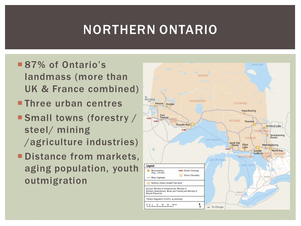  87% of Ontario's landmass (more than UK & France combined)  Three urban centres  Small towns (forestry / steel/ mining /agriculture industries)  Distance from markets, aging population, youth outmigration NORTHERN ONTARIO