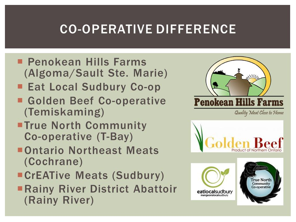  Penokean Hills Farms (Algoma/Sault Ste. Marie)  Eat Local Sudbury Co-op  Golden Beef Co-operative (Temiskaming)  True North Community Co-operativ