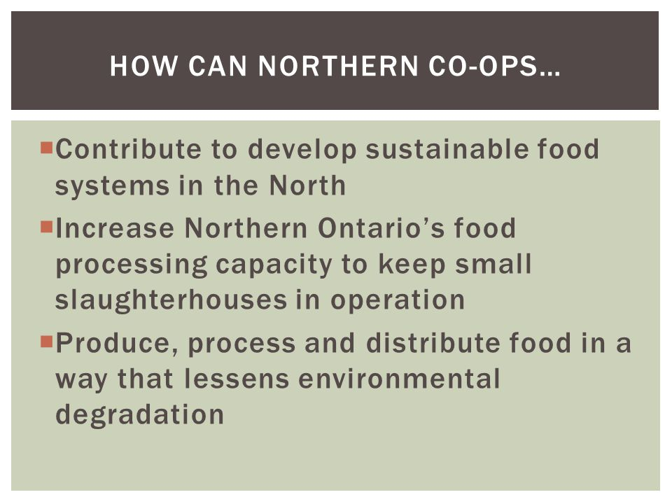  Contribute to develop sustainable food systems in the North  Increase Northern Ontario's food processing capacity to keep small slaughterhouses in