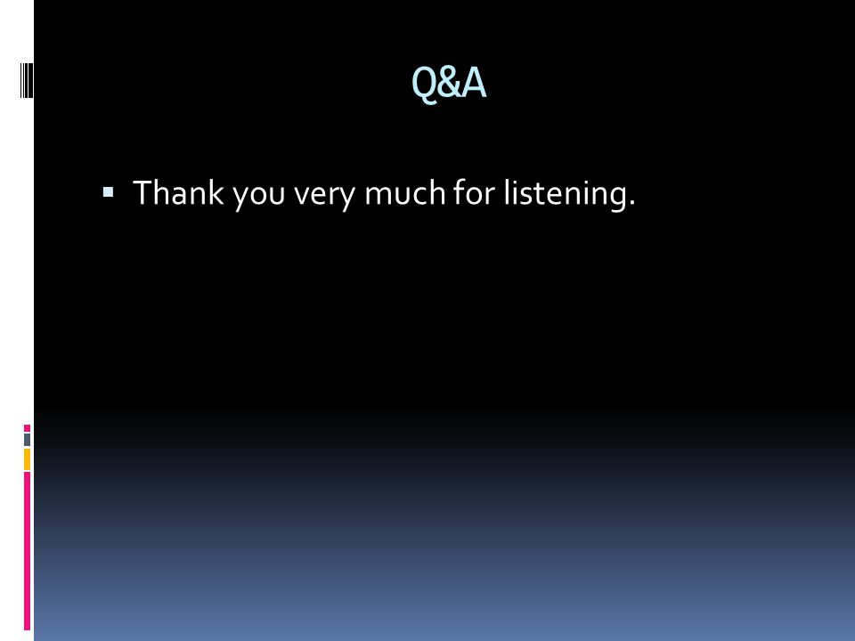 Q&A  Thank you very much for listening.