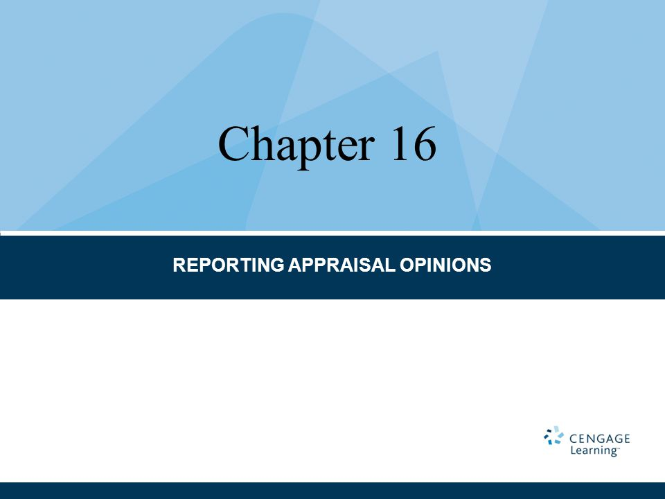 REPORTING APPRAISAL OPINIONS Chapter 16