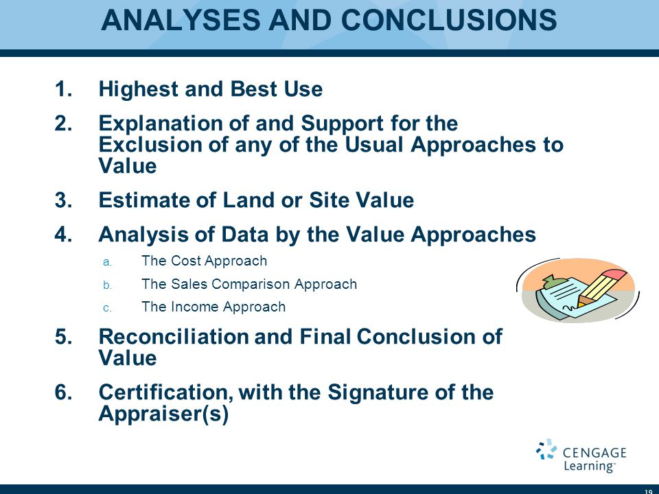 ANALYSES AND CONCLUSIONS 1.Highest and Best Use 2.Explanation of and Support for the Exclusion of any of the Usual Approaches to Value 3.Estimate of Land or Site Value 4.Analysis of Data by the Value Approaches a.