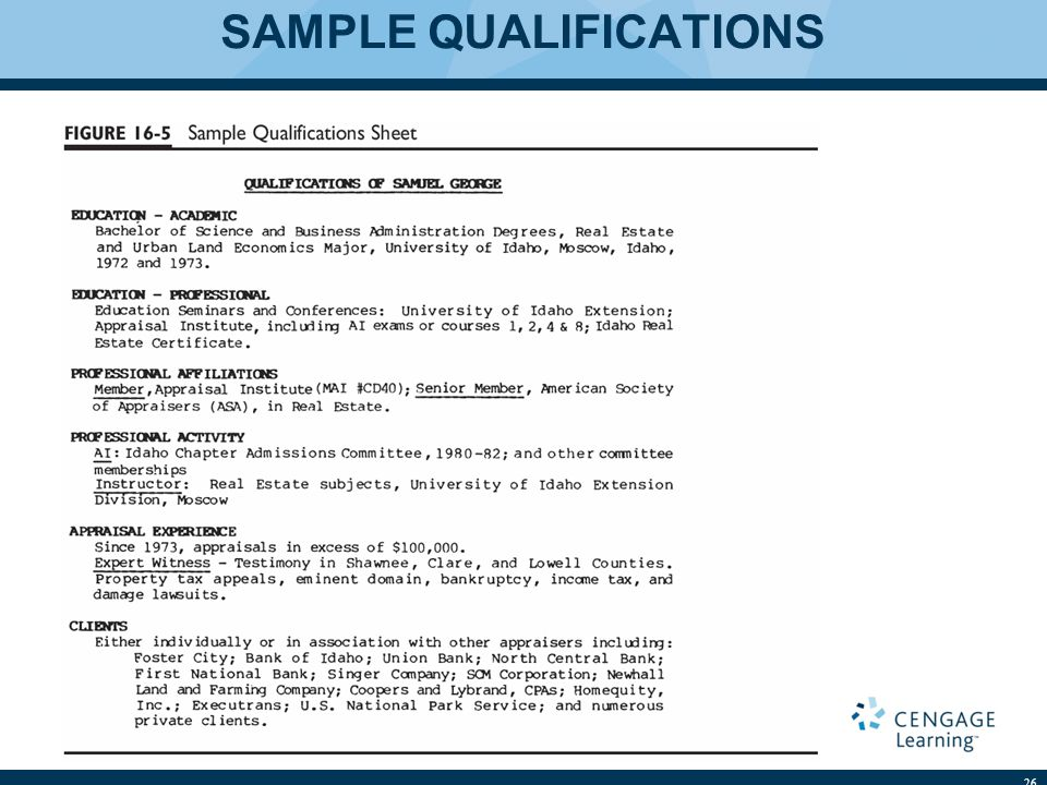 SAMPLE QUALIFICATIONS 26