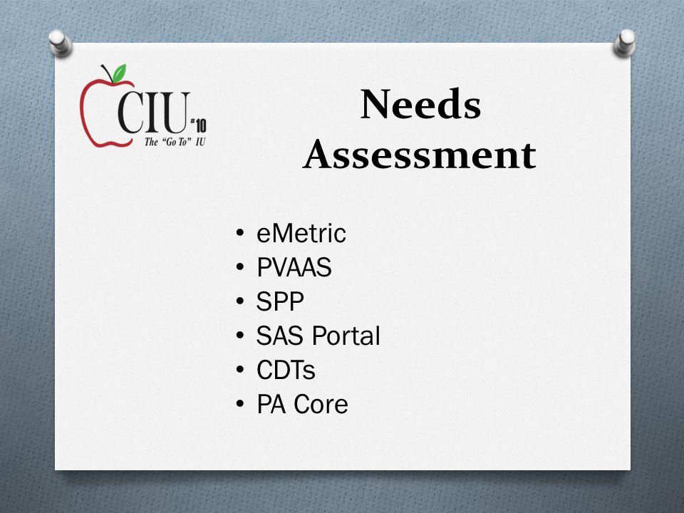 Needs Assessment eMetric PVAAS SPP SAS Portal CDTs PA Core
