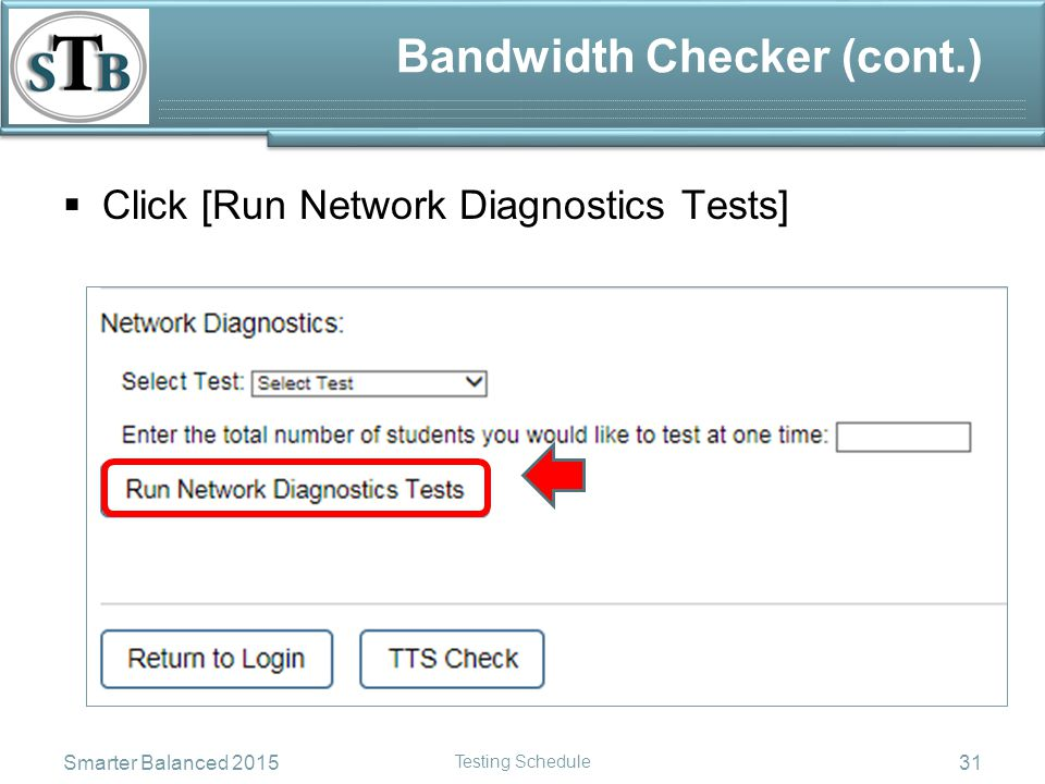 Bandwidth Checker (cont.)  Enter the maximum number of students to test at one time Smarter Balanced 2015 Testing Schedule 32