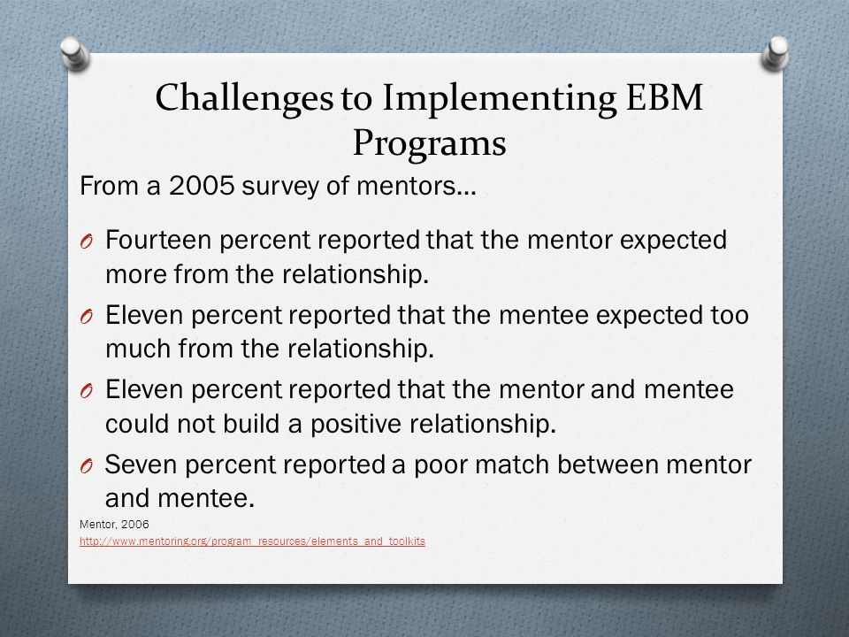 Challenges to Implementing EBM Programs From a 2005 survey of mentors… O Fourteen percent reported that the mentor expected more from the relationship.