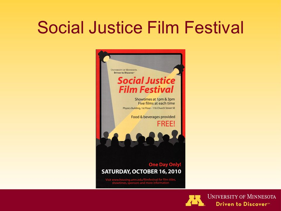 Social Justice Film Festival Image of poster for Social Justice Film Festival, 2 spotlights illuminate text and movie theater audience, colors are red, yellow, black, and grey.
