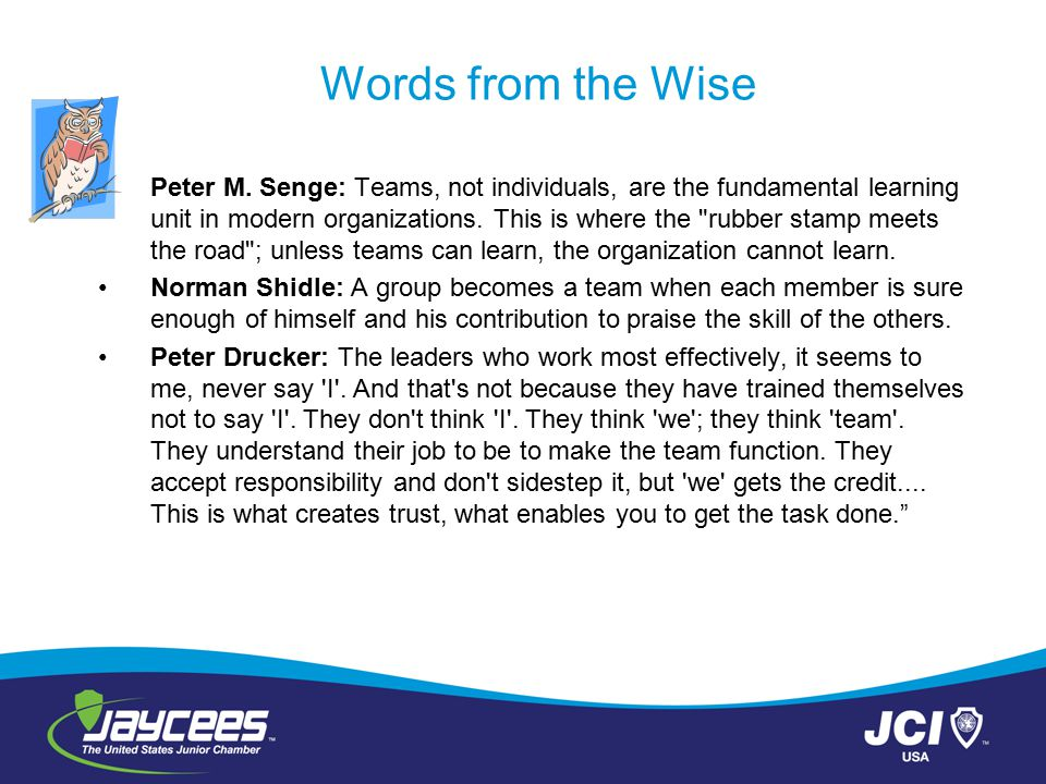 Words from the Wise Peter M. Senge: Teams, not individuals, are the fundamental learning unit in modern organizations. This is where the