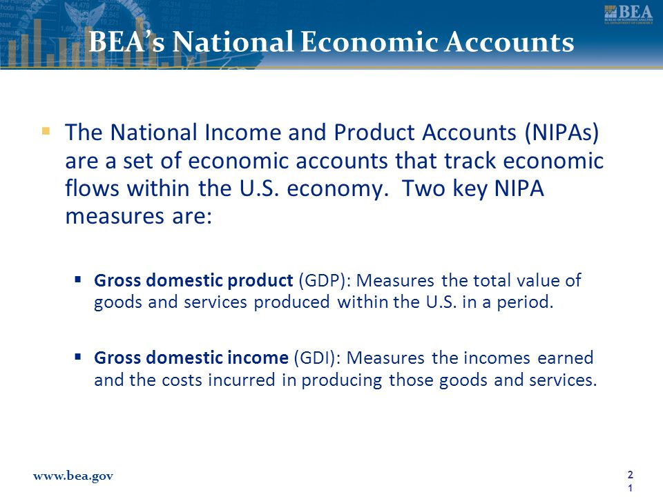 www.bea.gov BEA's National Economic Accounts  The National Income and Product Accounts (NIPAs) are a set of economic accounts that track economic flows within the U.S.