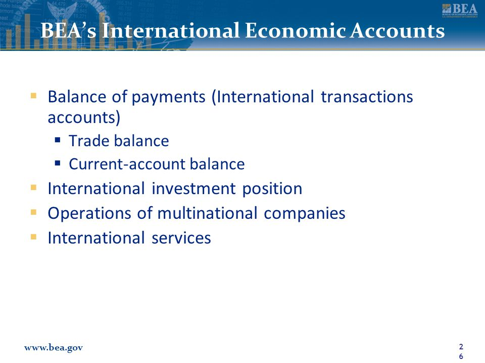 www.bea.gov BEA's International Economic Accounts  Balance of payments (International transactions accounts)  Trade balance  Current-account balance  International investment position  Operations of multinational companies  International services 26