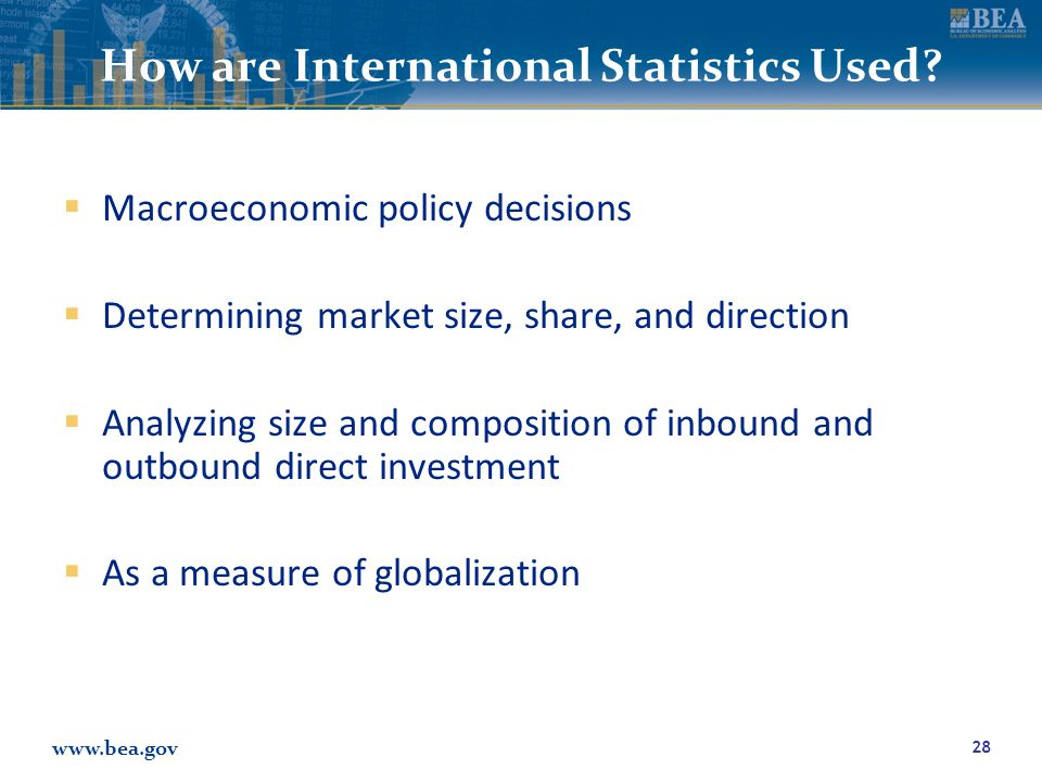 www.bea.gov How are International Statistics Used.