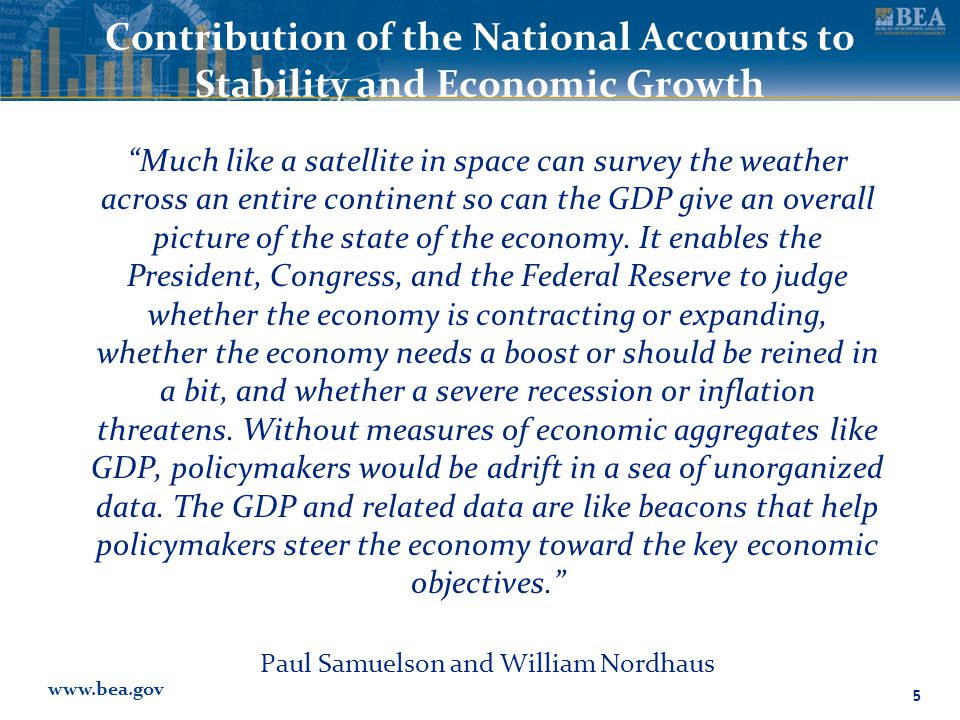 www.bea.gov Contribution of the National Accounts to Stability and Economic Growth Much like a satellite in space can survey the weather across an entire continent so can the GDP give an overall picture of the state of the economy.