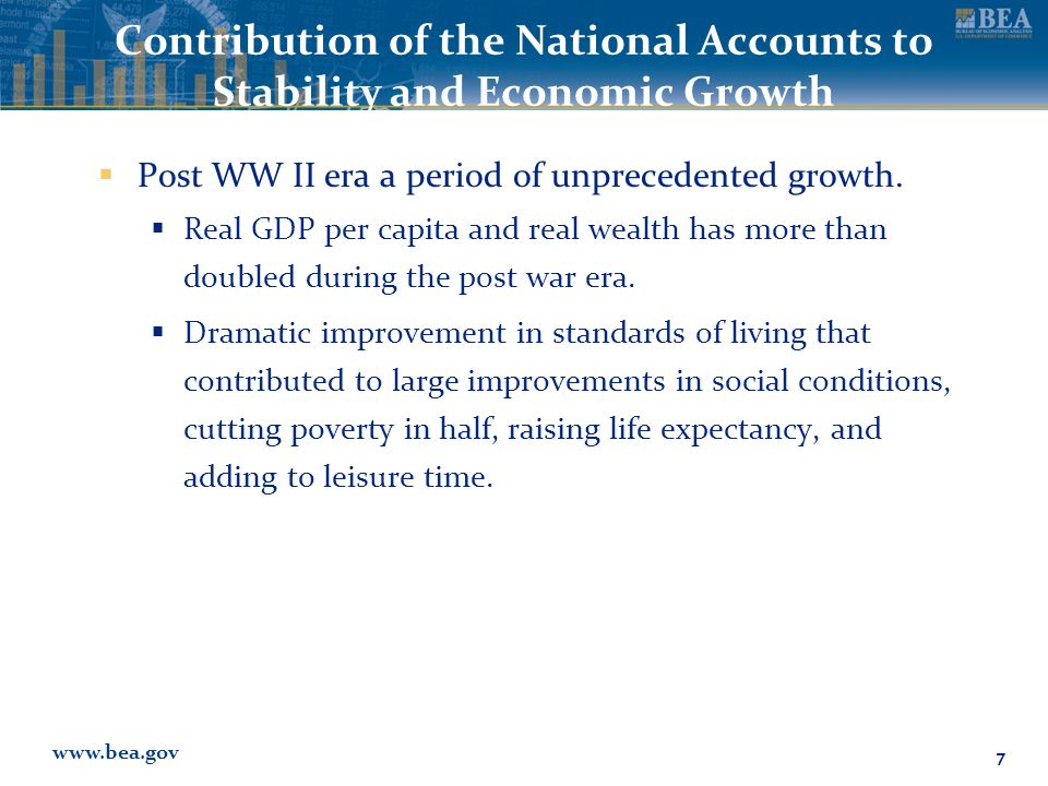 www.bea.gov Contribution of the National Accounts to Stability and Economic Growth  Post WW II era a period of unprecedented growth.