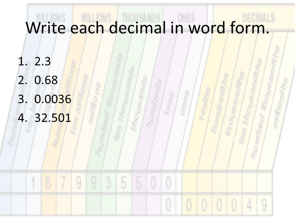 Write each decimal in word form. 1.2.3 2.0.68 3.0.0036 4.32.501