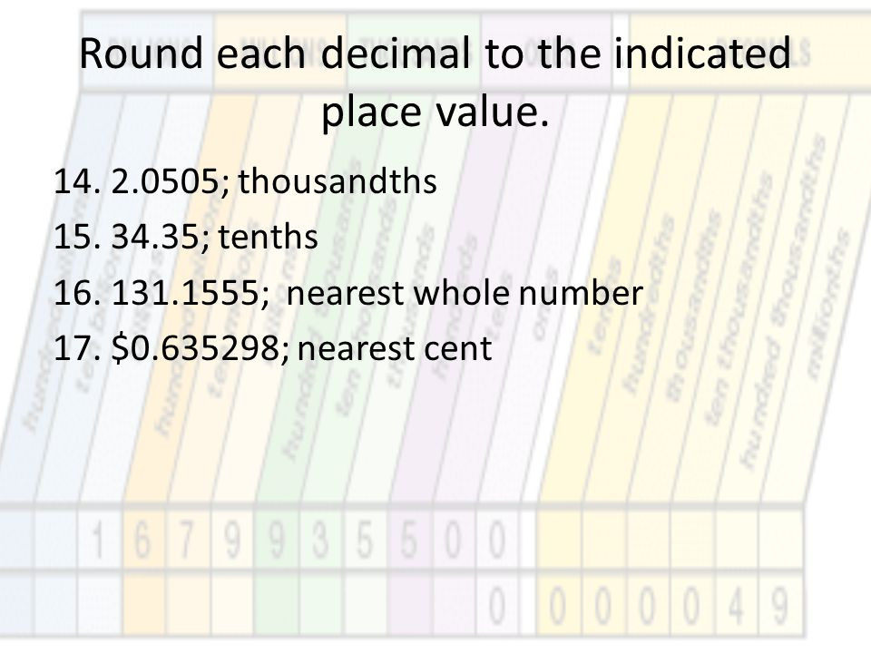 Round each decimal to the indicated place value. 14.