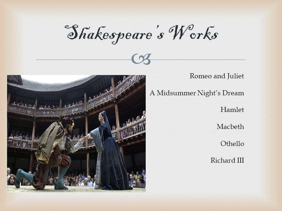  Shakespeare's Works Romeo and Juliet A Midsummer Night's Dream Hamlet Macbeth Othello Richard III