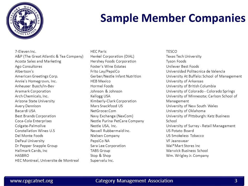 www.cpgcatnet.orgCategory Management Association Sample Member Companies 7-Eleven Inc.