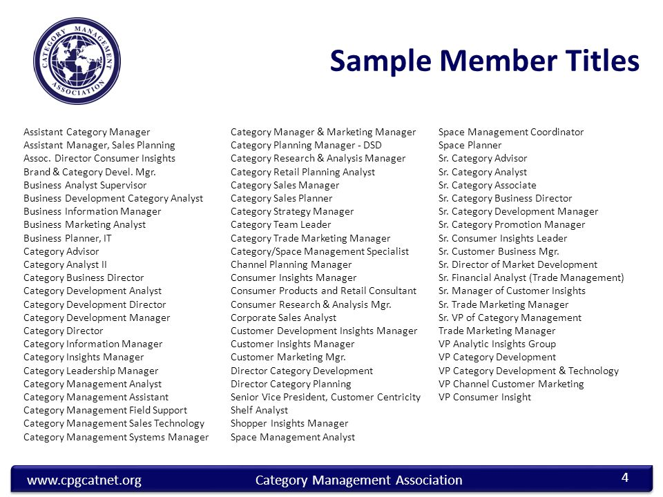 www.cpgcatnet.orgCategory Management Association Assistant Category Manager Assistant Manager, Sales Planning Assoc.