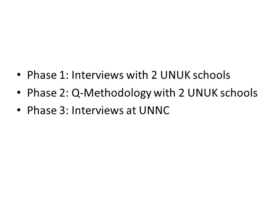 Phase 1: Interviews with 2 UNUK schools Phase 2: Q-Methodology with 2 UNUK schools Phase 3: Interviews at UNNC
