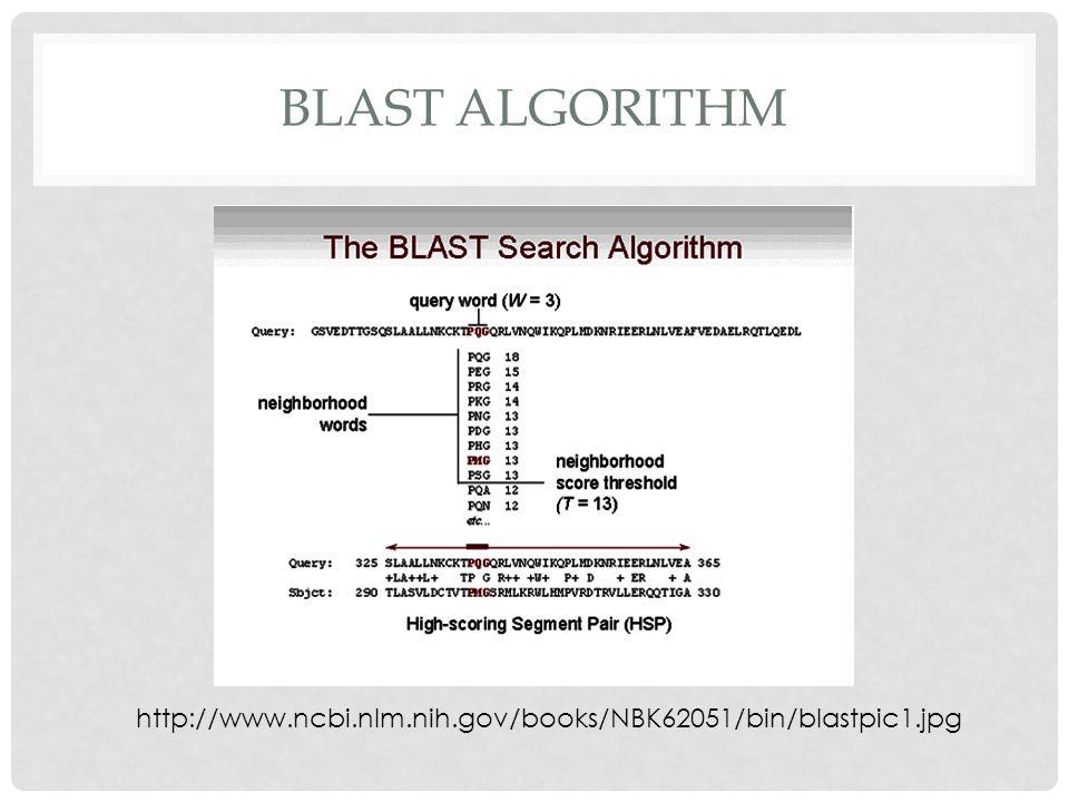 BLAST ALGORITHM http://www.ncbi.nlm.nih.gov/books/NBK62051/bin/blastpic1.jpg
