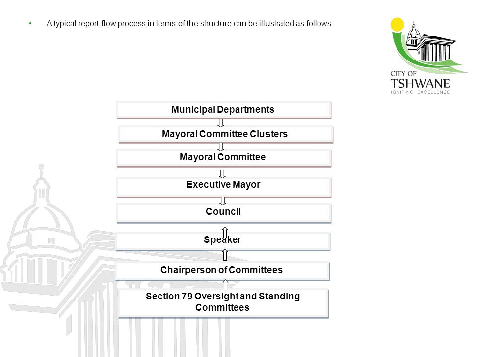 A typical report flow process in terms of the structure can be illustrated as follows: Municipal Departments Mayoral Committee Clusters Mayoral Commit