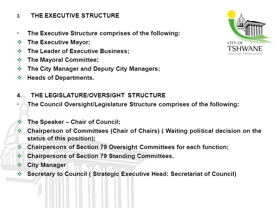 3. THE EXECUTIVE STRUCTURE The Executive Structure comprises of the following:  The Executive Mayor;  The Leader of Executive Business;  The Mayora