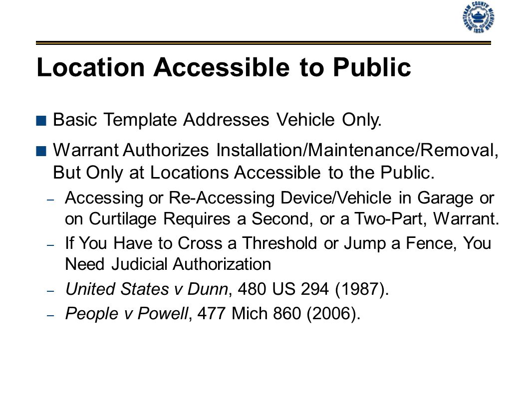 Location Accessible to Public Basic Template Addresses Vehicle Only.
