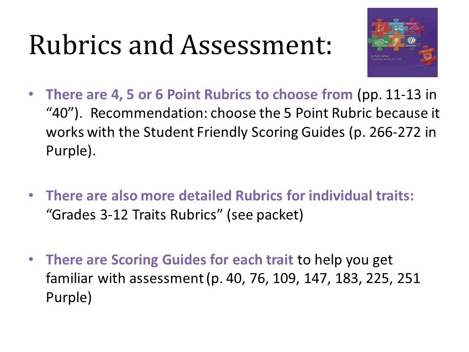 Rubrics and Assessment: There are 4, 5 or 6 Point Rubrics to choose from (pp.