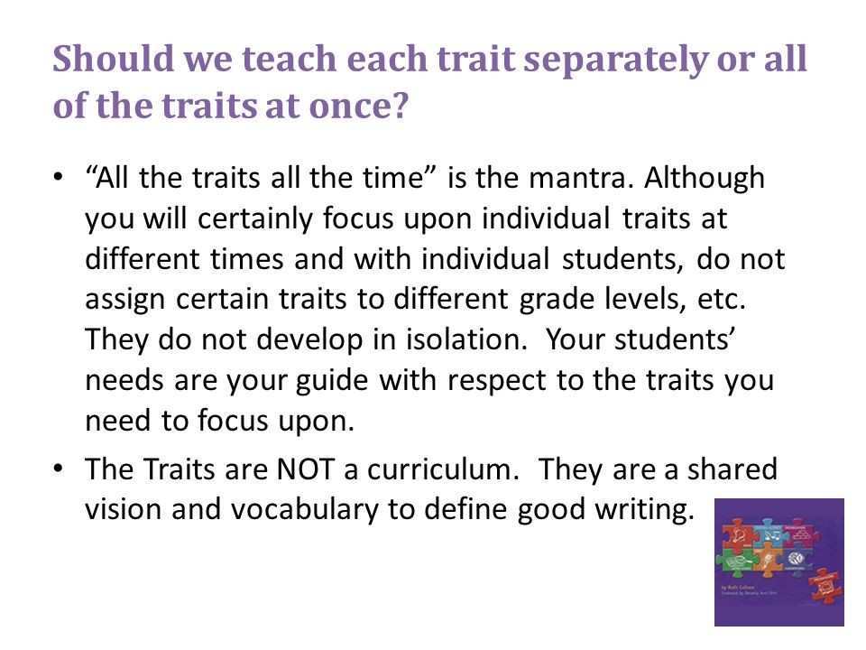Should we teach each trait separately or all of the traits at once.