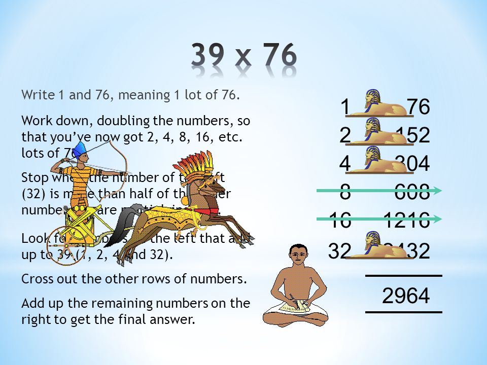 Write down 1 and 50 150 2100 4200 8400 16800 Work down, doubling the numbers, so that you've now got 2, 4, 8, 16, etc.