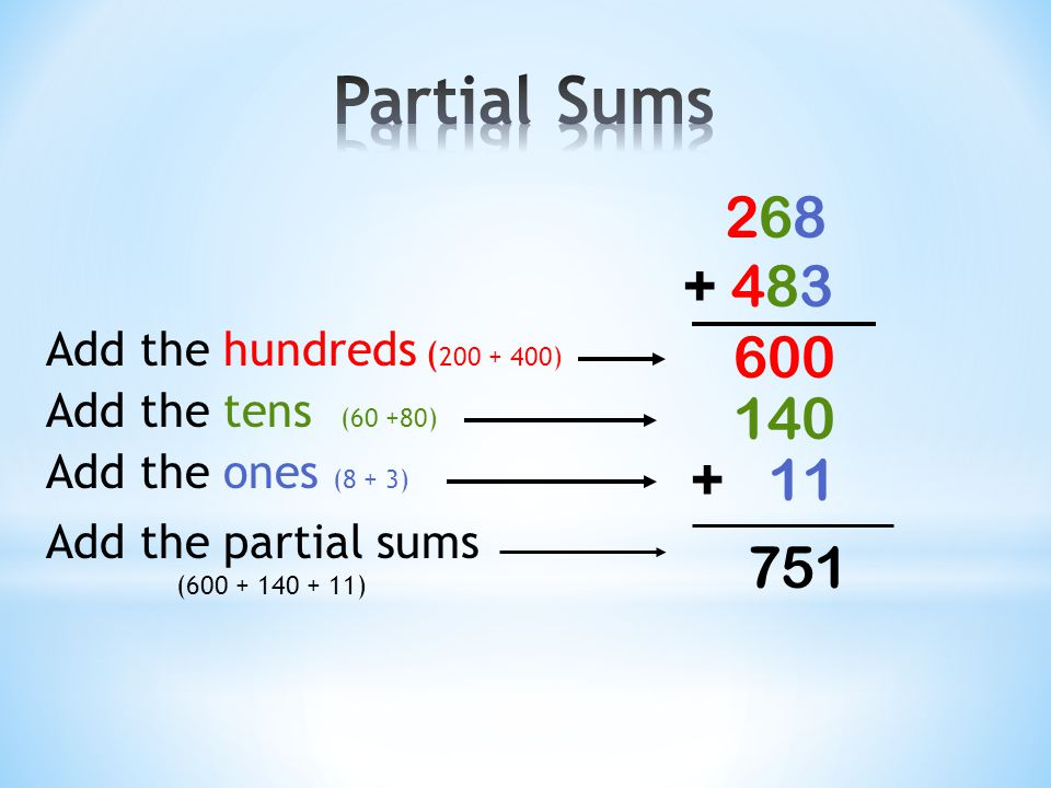 43 + 25 Add the tens (40 + 20) 60 Add the ones (3 + 5) Add the partial sums (60 + 8) + 8 68