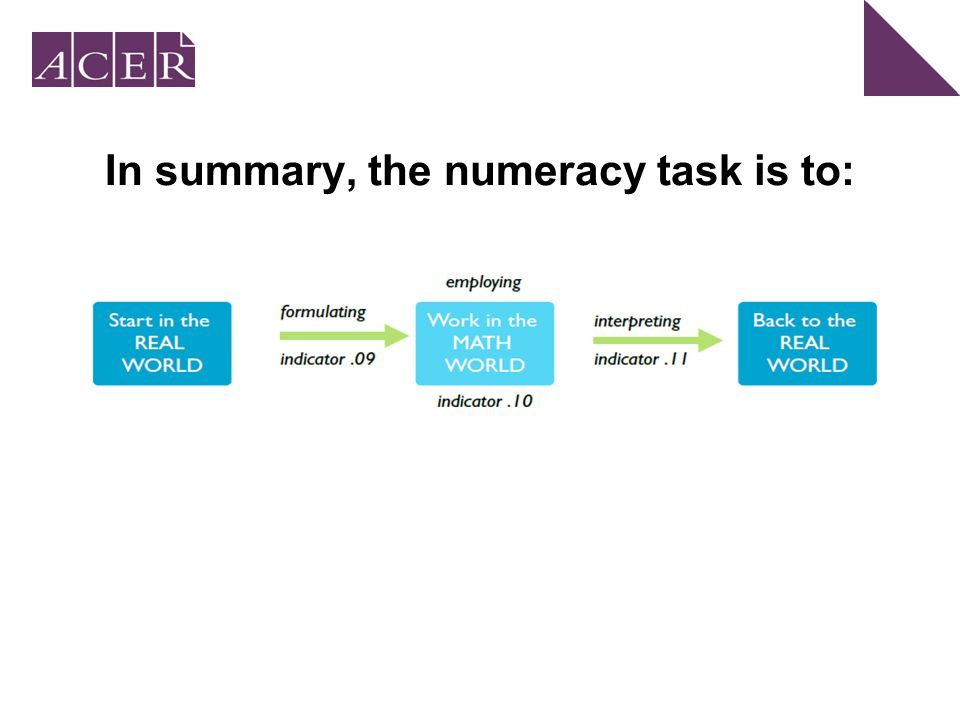 In summary, the numeracy task is to: