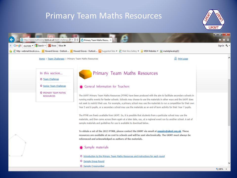 Primary Team Maths Resources