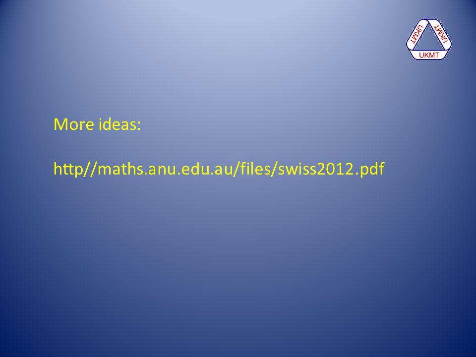 More ideas: http//maths.anu.edu.au/files/swiss2012.pdf